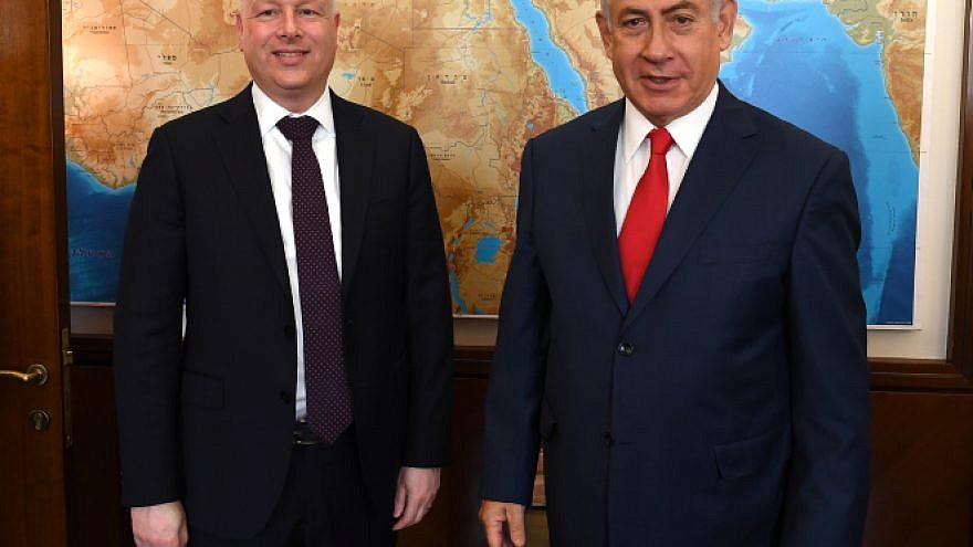 Israeli Prime Minister Benjamin Netanyahu with U.S. special envoy Jason Greenblatt at the Prime Minister's Office in Jerusalem, on July 12, 2017. Photo by Matty Stern/U.S. Embassy Tel Aviv.