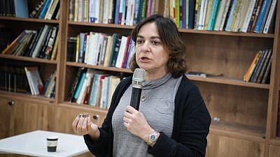 Israeli journalist and New Right Party candidate Caroline Glick speaks at the Oz VeGaon reserve in Gush Etzion on Feb. 8, 2019. Credit: Gershon Elinson/Flash90.
