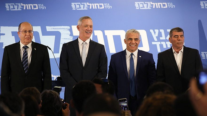 From left: Moshe Ya'alon, Benny Gantz, Gabi Ashkenazi and Yair Lapid of the Blue and White Party seen after a statement Tel Aviv on Feb. 21, 2019. Photo by Noam Revkin Fenton/Flash90.