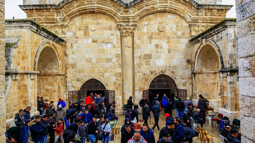 "Palestinians hold a prayer rally outside the ""Gate of Mercy"" on the Temple Mount in Jerusalem's Old City, on March 1, 2019. Photo by Sliman Khader/Flash90."