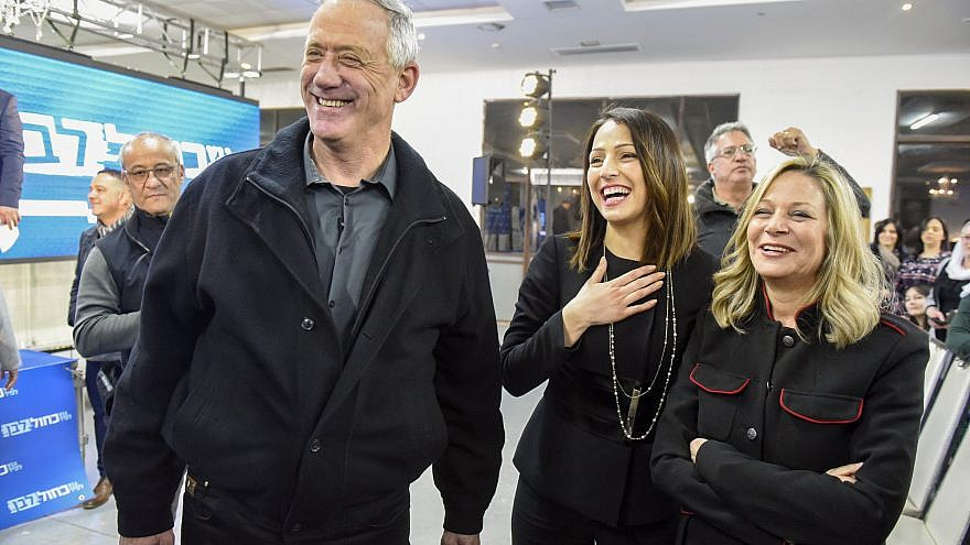 Benny Gantz and Miki Haimovich of the Blue and White joint list attend a meeting with members of the Druze community in the druze town of Daliyat al-Karmel, northern Israel, March 7, 2019. Credit: Meir Vaknin/Flash90