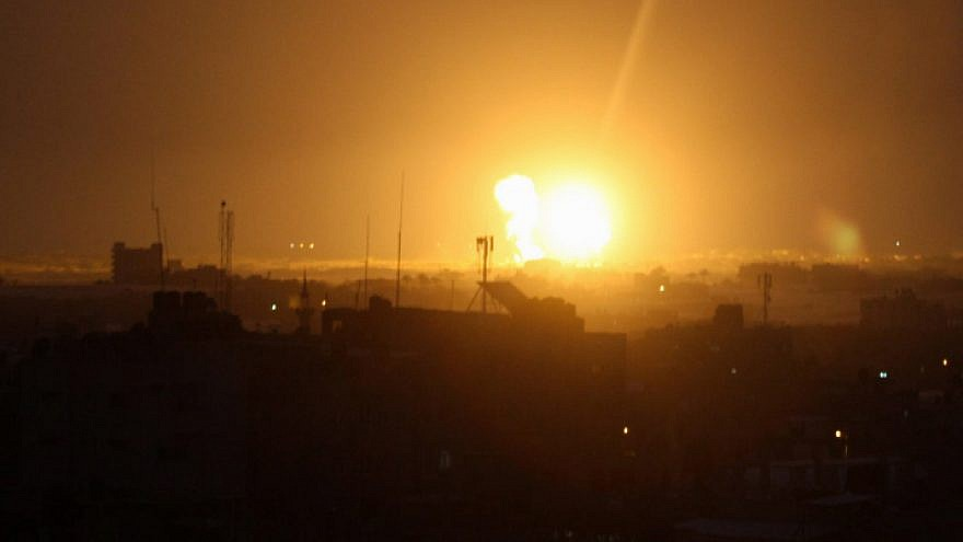 File photo: Smoke and fire rise following an Israeli airstrike in Rafah City in the southern Gaza Strip on March 15, 2019. Credit:  Abed Rahim Khatib/Flash90.