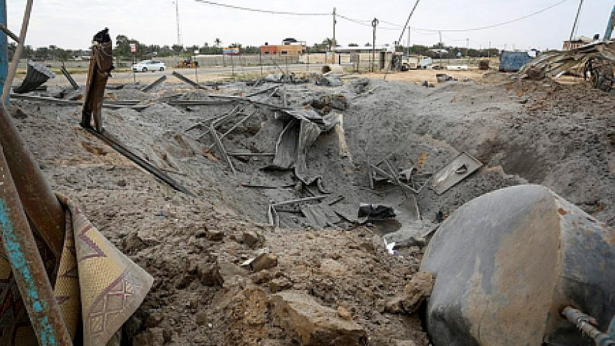 Rubble at the site of an Israeli airstrike in Khan Yunis in the southern Gaza Strip after two rockets were fired at Tel Aviv the night before, March 15, 2019. Credit: Abed Rahim Khatib/Flash90.