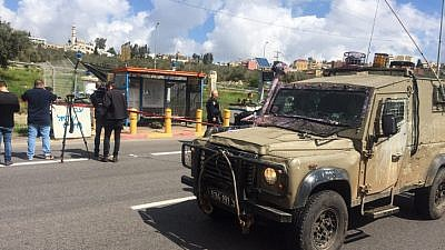 The scene where a Palestinian attacked Israeli men at a bus stop, stabbing an IDF soldier and stealing his gun, using it to shoot at another man nearby, in Ariel on March 17, 2019. Photo by Flash90.