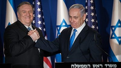 Israeli Prime Minister Benjamin Netanyahu and U.S. Secretary of State Mike Pompeo deliver joint statements at the prime minister's residence in Jerusalem on March 20, 2019. Photo by Hadas Parush/Flash90.