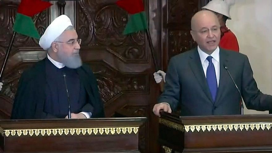 Iranian President Hassan Rouhani (left) and Iraqi President Barham Salih at a joint press conference in Baghdad on March 11, 2019. Credit: Screenshot.