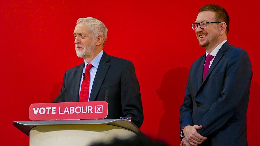 Jeremy Corbyn, Leader of the Labour Party UK with MP Andrew Gwynne. Credit: Wikimedia Commons.