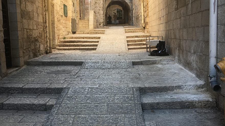 A view of wheelchair accessible ramps in the Christian Quarter of the Old City of Jerusalem. Credit: Shlomo Deutsch.