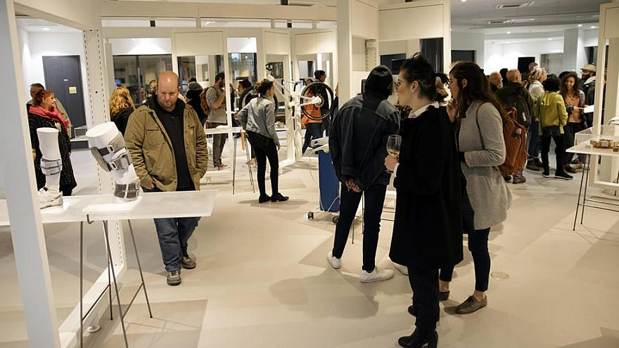 Opening night of a first-ever exhibit on medicine, designers and cultural implications, sponsored by Hadassah Academic College in Jerusalem, on March 13, 2019. The exhibit runs until June 13, 2019. Credit: Hadassah Academic College.