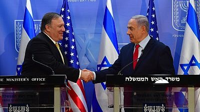 U.S. Secretary of State Mike Pompeo meets with Israeli Prime Minister Benjamin Netanyahu in Jerusalem on March 20, 2019. Credit: Kobi Gideon/GPO.