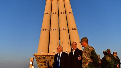 Israeli Prime Minister Benjamin Netanyahu and Israeli Ambassador to the United States David Friedmantoured the deployment area for the U.S. THAAD missile-defense system stationed in Israel, March 6, 2019. Credit: Kobi Gideon/GPO.