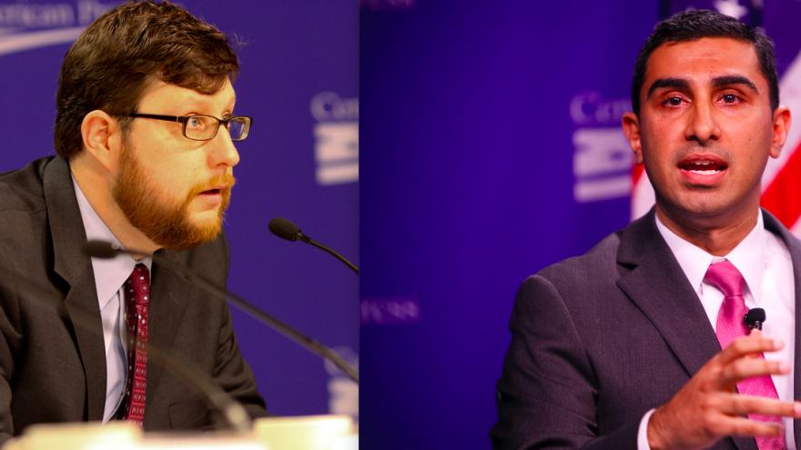 Matt Duss and Faiz Shakir, senior advisers on Vermont Sen. Bernie Sanders's 2020 presidential campaign. Credit: Screenshot.