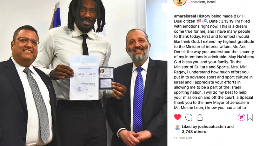 Basketball star Amar'e Stoudemire received his official Israeli citizenship from Israel's Interior Minister Aryeh Deri and Jerusalem Mayor Moshe Lion on March 13, 2019. Source: Stoudemire's Instagram account.