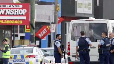 Police in Christchurch, New Zealand, after shootings at two mosques on March 15, 2019. Credit: Screenshot.
