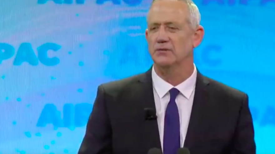 Former Israel Defense Forces Chief of Staff Benny Gantz addresses the 2019 AIPAC Policy Conference in Washington, D.C., on March 25, 2019. Credit: Screenshot.