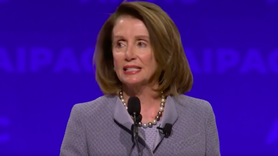 Speaker of the House Nancy Pelosi (D-Calif.) addresses the 2019 AIPAC Policy Conference on March 26 in Washington, D.C. Credit: Screenshot.