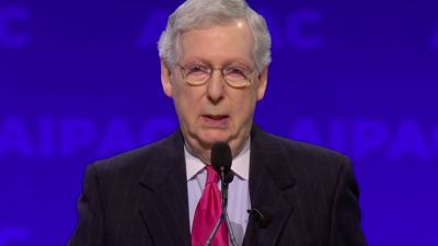 U.S. Senate Majority Leader Mitch McConnell (R-Ky.) addresses the annual AIPAC conference in Washington, D.C., on March 26, 2019. Credit: Screenshot.
