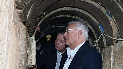 U.S. Sen. Lindsey Graham (R-S.C.) and U.S. Ambassador to Israel David Friedman eyeball the Israel-Gaza border area on March 10, 2019. They were briefed by Maj.-Gen. Herzi Halevi of the IDF Southern Command and also saw an unearthed cross-border Hamas terror tunnel. Credit: Matty Stern/U.S. Embassy Jerusalem.
