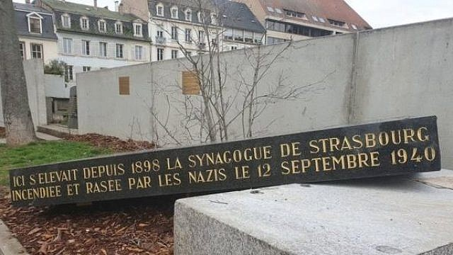 A memorial stone at the site of an old Jewish synagogue in the French city of Strasbourg was vandalized, following the Feb. 19, 2019 discovery of swastikas on 80 gravestones in a Jewish cemetery in the village of Quatzenheim, also near the border with Germany, March 2019. Credit: EJP.