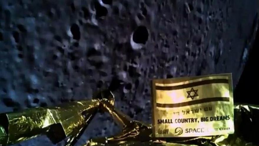 "Selfie image as the spacecraft prepared for its lunar landing in April 2019. Credit:""Beresheet."""