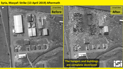 Satellite photos released by ImageSat International shows the aftermath of an airstrikes attributed to Israel that targeted a Syrian military base, in Masyaf in the Hama province, on April 12, 2019. Credit: ImageSat International.