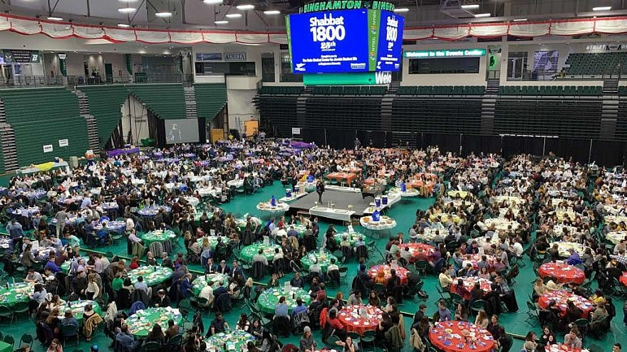 A whopping 1,850 participants celebrated the 25th anniversary Shabbat dinner held annually at Binghamton University, which started out in 1994 as Shabbat 1000, April 5, 2019. Photo by R. Coschignano/Chabad of Binghamton.