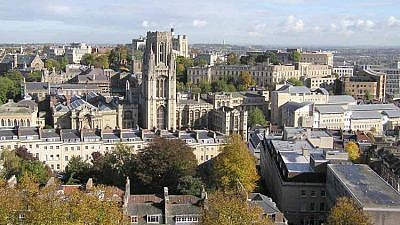 View of buildings used by Bristol University taken from the Cabot Tower on Brandon Hill. Credit: Adrian Pingstone/Wikimedia Commons.