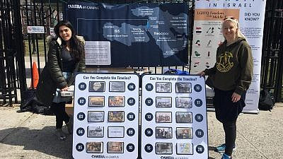 """Pro-Israel students at Brooklyn College work to combat false allegations against the Jewish state that are at the core of """"Israeli Apartheid Week."""" Credit: CAMERA."""