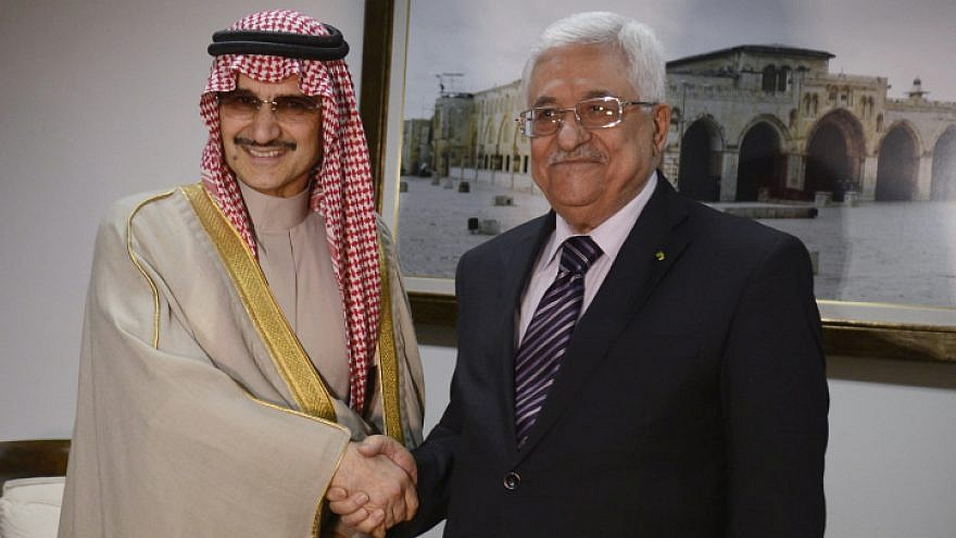 Saudi prince Al-Walid bin Talal meets with Palestinian Authority leader Mahmoud Abbas in the West Bank city of Ramallah, on March 4, 2014. Photo by Issam Rimawi/Flash90.