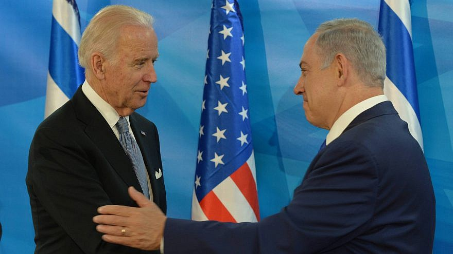 Israeli Prime Minister Benjamin Netanyahu meets with then-U.S. Vice President Joe Biden at the Prime Minister's Office in Jerusalem, on March 9, 2016, during Biden's official visit to Israel and the Palestinian Authority. Photo by Amos Ben Gershom/GPO.