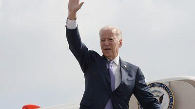 Former U.S. Vice President Joe Biden departing Israel following a 2016 visit. Credit: Matty Stern/US Embassy of Tel Aviv.