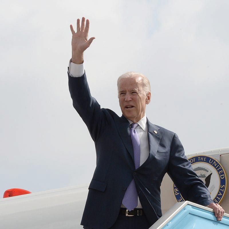 Former U.S. Vice President Joe Biden seen departing Israel during a 2016 visit. Credit: Matty Stern/US Embassy of Tel Aviv
