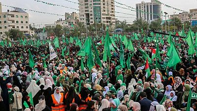 Thousands of Palestinians attend a rally celebrating Hamas 31th anniversary, in Gaza City, on December 16, 2018,  Credit: Abed Rahim Khatib/Flash90