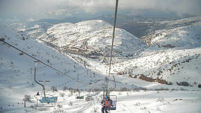 Israelis enjoy the snow on Mount Hermon on Jan. 29, 2019. Photo by Adam Shuldman/Flash90.