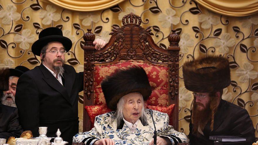 Kaliv Chassidic Rabbi Menachem Mendel Taub at a special ceremony in Jerusalem on March 13, 2019. Photo by David Cohen/Flash90.