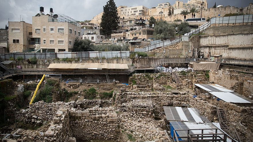A view of the archaeological digging site of the City of David near the Old City of Jerusalem on March 31, 2019. Credit: Hadas Parush/Flash90.