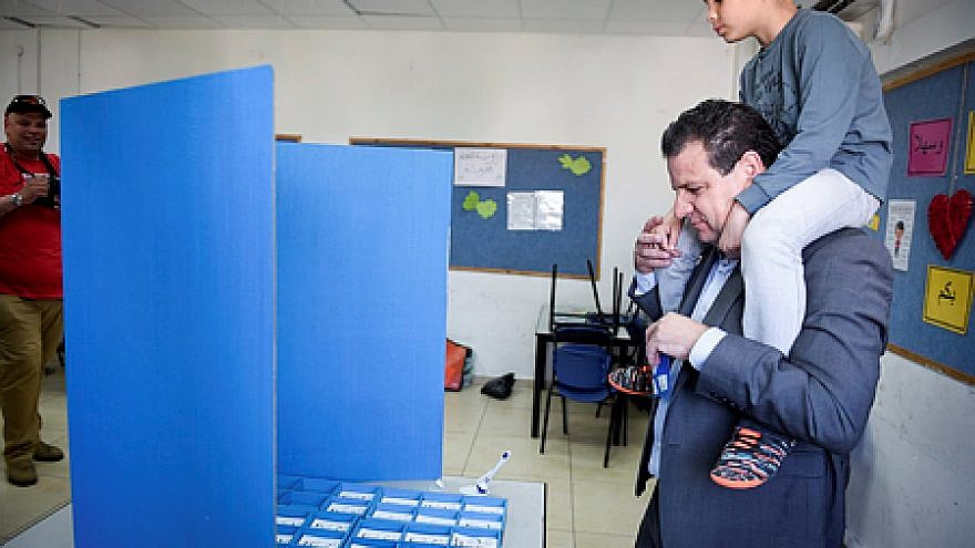 Israeli-Arab Knesset member Ayman Odeh casts his ballot at a voting station in Hafai on election day, April 9, 2019. Credit: Meir Vaknin/Flash90.