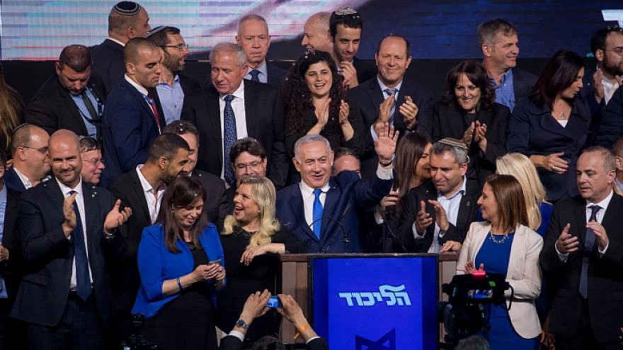 Likud members and supporters celebrate Israel's election results at party headquarters in Tel Aviv on April 9, 2019. Photo by Yonatan Sindel/Flash90.