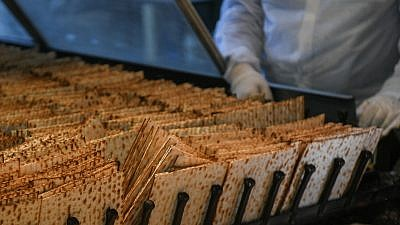 Workers prepare matzah, traditional unleavened bread eaten during the eight-day Jewish holiday of Passover, at the Aviv matzah plant in Bnei Brak on April 14, 2019. Photo by Flash90.