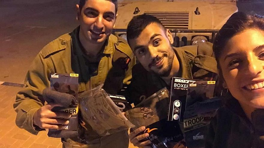 Friends of the Israel Defense Forces (FIDF) distributed personal-care supplies, including hygiene kits and fresh clothing, to Israeli soldiers stationed along the Gaza-Israel border, April 2019. Credit: Courtesy of FIDF.