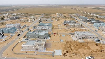 Aerial photo of new neighborhoods being built in the Halutza communities of the Gaza Envelope. Credit: Jewish National Fund.