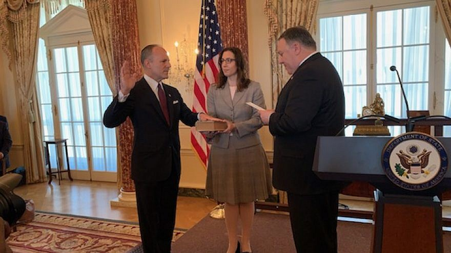 U.S. Special Envoy for Monitoring and Combating Anti-Semitism Elan Carr is sworn in (on a Hebrew Bible, or Tanach) by U.S. Secretary of State Mike Pompeo on April 11, 2019. Credit: Josh Katzen/JNS.