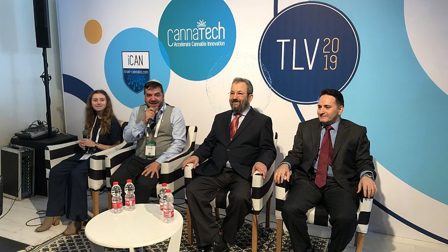 From left: Rylie Maedler, a 13-year-old from Delaware who has used medical cannabis to successfully treat bone tumors; Saul Kaye, CEO and founder of CannaTech and iCAN: Israel-Cannabis; former Israeli Prime Minister Ehud Barak, now chairman of the Israeli medical-cannabis company CANNDOC/Intercure; and Yona Levy, CEO of Alvit Pharma, one of Israel's leading cannabis companies. Credit: Israel Kasnett.