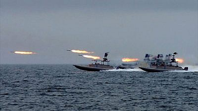 One of the various types of fast-attack craft used by Iran's Islamic Revolutionary Guard Corps, seen here taking part in maneuvers in the general area of the Strait of Hormuz in the Persian Gulf, in February 2015. Credit: Sayyed Shahab-o-Din Vajedi via Wikimedia Commons.