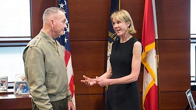 U.S. Ambassador to Canada Kelly Kraft meets with U.S. Marine Corps Gen. Joe Dunford, chairman of the Joint Chiefs of Staff. Credit: DoD Photo by U.S. Army Sgt. James K. McCann.