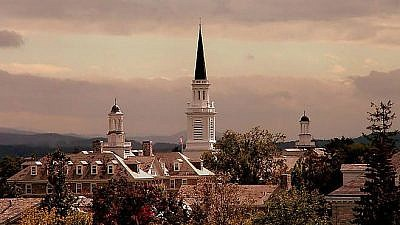 The spire of Mead Memorial Chapel at Middlebury College in Vermont. Credit: Wikimedia Commons.