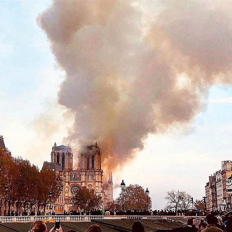 Fire at the Notre Dame Cathedral in Paris, April 15, 2019. Credit: Wikimedia Commons.
