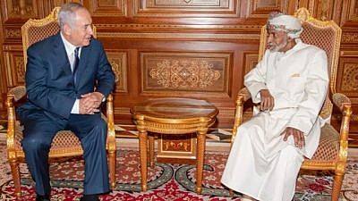 Israeli Prime Minister Benjamin Netanyahu meeting with Oman's Sultan Qaboos in the Omani capital of Muscat, Oct. 26, 2018. Credit: Press TV-Iran.