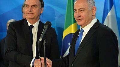 Brazilian President Jair Bolsonaro with Israeli Prime Minister Benjamin Netanyahu in Jerusalem on March 31, 2019. Credit: Kobi Gideon/GPO.