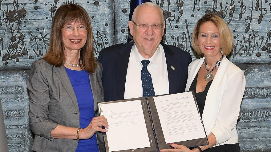 Israeli President Reuven Rivlin with Nili Cohen (left), president of the National Academy of Sciences and Humanities, and Marcia McNutt, president of the National Academy of Sciences. Photo nby Amos Ben Gershom/GPO.
